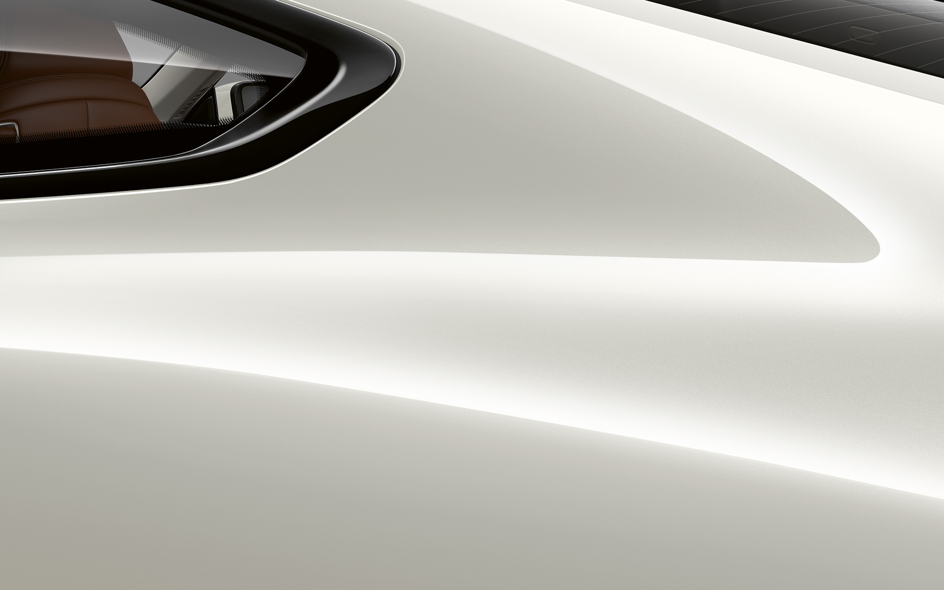 Close-up of the C pillar of the BMW 8 Series Coupé in Mineral White metallic.