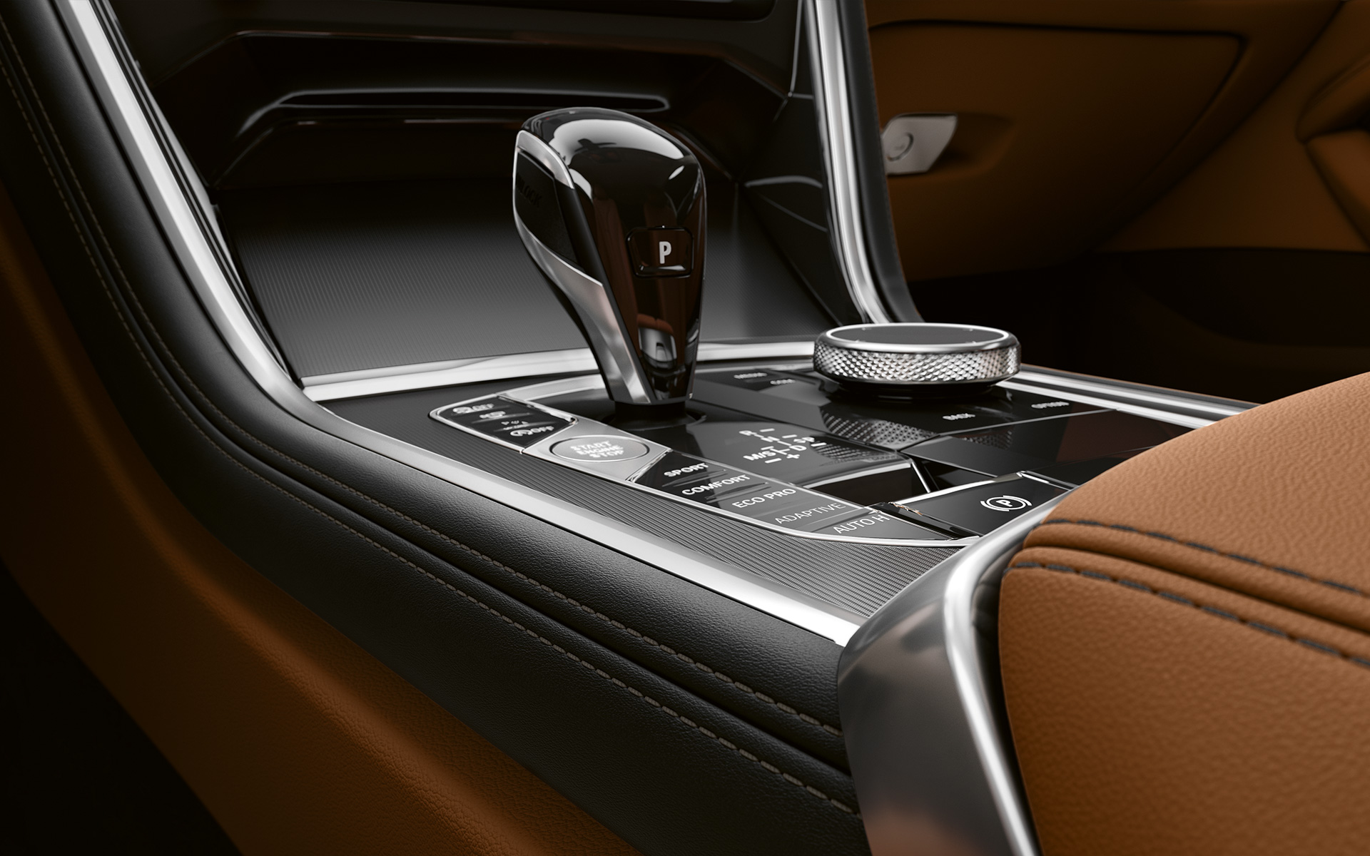 Close-up of the middle console of the BMW 8 Series Coupé.